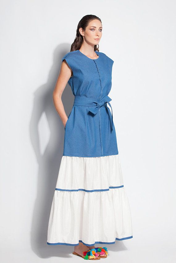 924724b330a Denim maxi dress  Boho maxi dress  Boho plus size dress  Denim dress ...