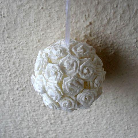 Fehér dekorgömb, pomander - 7cm - Rendelésre, Dekoráció, Otthon, lakberendezés, Dísz, Esküvői kellékek, #meska