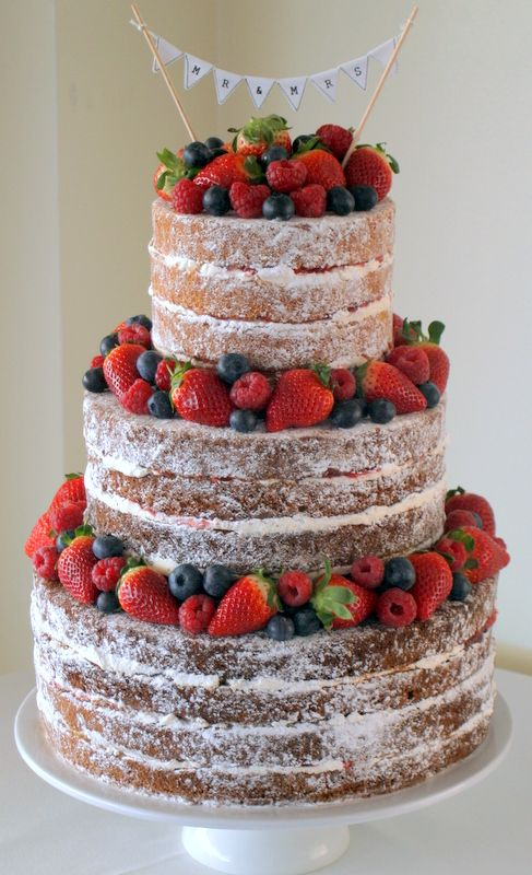 Good idea - lemon cake with blueberries? using frosting sparingly?   Victoria Sponge Wedding Cake. Lower cost. Less frosting. more fruit is served on the side.