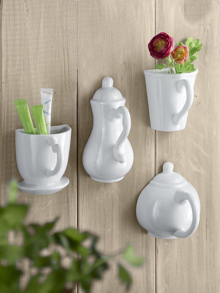 """Украшение для стены """"Чашка"""", 4 штуки. Размер ок. 8х8х7 см.  #quelle #trends #fashion #style #brands #lifestyle #home"""