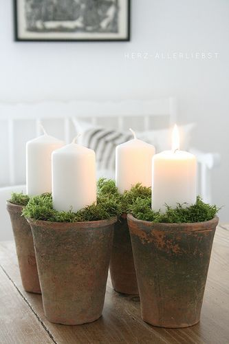 Really like this in the place of a traditional advent wreath. vielleicht selber betonieren und mit Zahlen drauf?