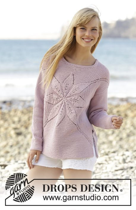 """Morning Star - Jumper worked in a square with leaf pattern in """"Paris"""". Free #knitting pattern by DROPS Design"""