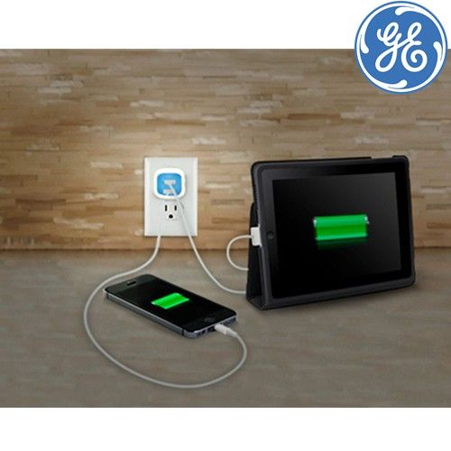 GE USB Charger with Night Light, 2 Ports 2.1A for All Smartphones and Tablets. On sale for $8.99 each!