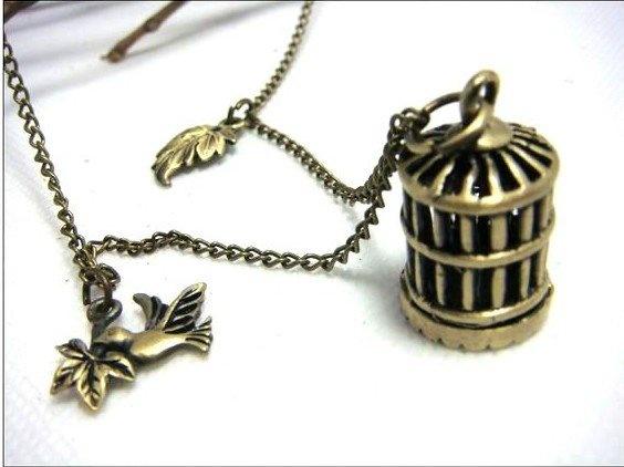3pcs/lot groothandel meisje mannen prachtige brons antiek koper hanger lange ketting cool design mode vogelkooi xx