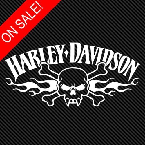 Harley davidson flaming skull 8 vinyl decal window