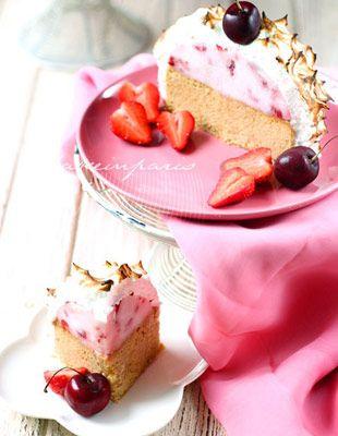 Baked alaska pink wedding cake and dessert, so pretty