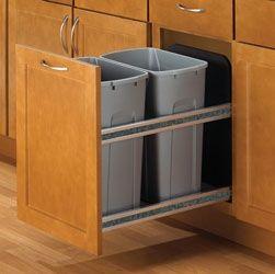 KNAPE & VOGT USC15-2-35PT Double 35-QT Soft-Close Undermount Waste & Recycling Bins - Platinum