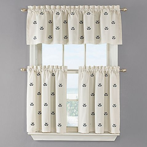 Crossed Anchor Kitchen Window Curtain Tier Pair In White