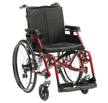 K chair red. #rolstoel met vering in achterframe ophanging.