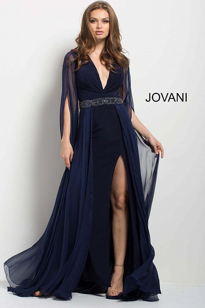 Navy Embellished Belt Long Sleeve Chiffon Evening Dress, Navy Blue ...