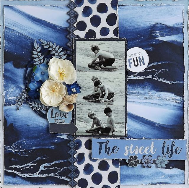 Scraps Of Darkness scrapbook kits: blue multi photo beach layout created w/our April kit, by Laura G.