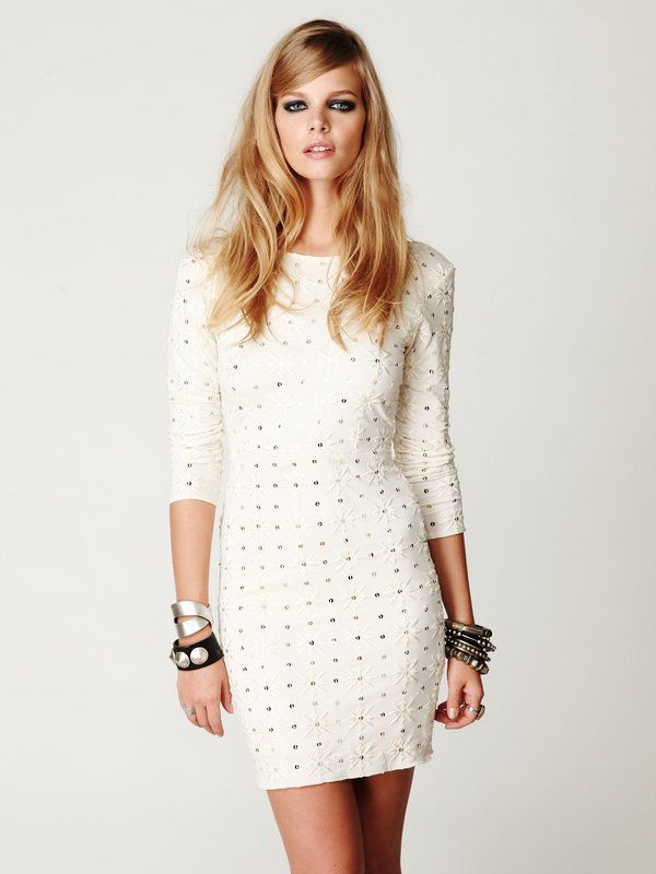 Long Sleeve Embellished Party Dress / Free People: Party Dresses, Wedding Parties Dresses, Long Sleeve, White Dress, Free People, Rehear Dinners Dresses, The Dresses, Sleeve Embellishments, Embellishments Parties