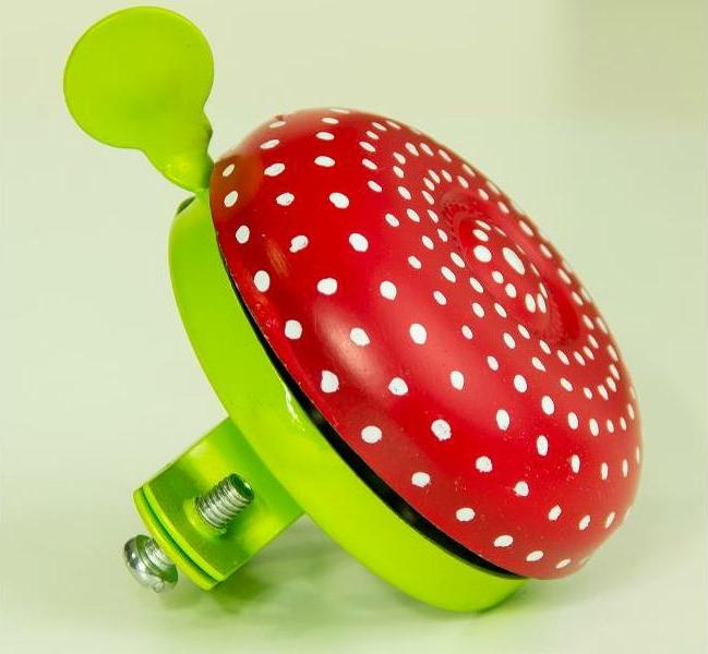 """""""Ugly Mushroom"""" Bicycle Bell with Red  Lemon contrasting colours. Hand-Painted with glossy smooth finish. Resistant to all types of weather. Comes in a pvc clear gift box. The best spring gift (not only) for bicycle lovers! :) #uglybell"""