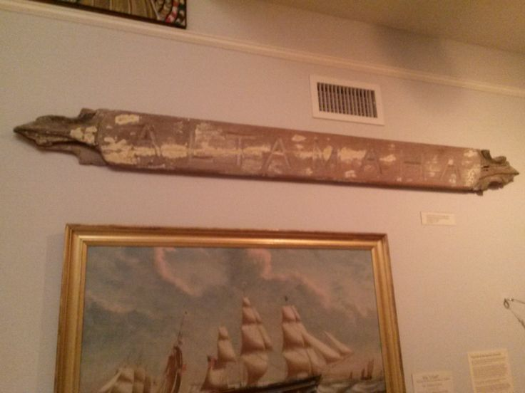 Photo taken in 2014 in the Nickerson Gallery: Quarterboard From the Ship Altamaha which was shipwrecked off of Chatham on March 17, 1893. #altamaha, #ship, #shipwreck, #atwoodhouse, #chatham, #chathamhistoricalsociety, #capecod, #quarterboard