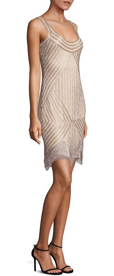 "Beaded cocktail dress by Aidan Mattox. Striking cocktail dress with beaded fringe hem detailScoop necklineSleevelessConcealed back zip closureLinedAbout 34""..."