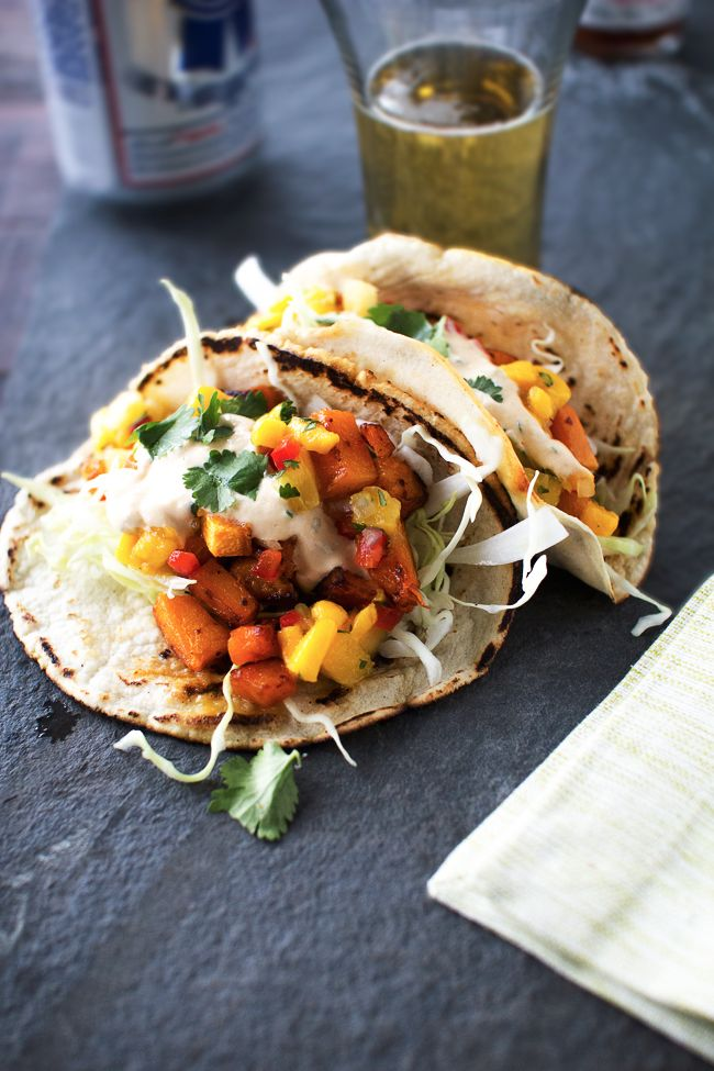 Chili-Fried Butternut Squash Tacos with Mango Pineapple Salsa / The Flourishing Foodie