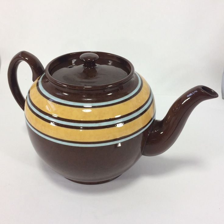 SADLER Tea Pot Brown Betty Staffordshire Brown Blue Yellow Stripe Vintage HTF #Sadler
