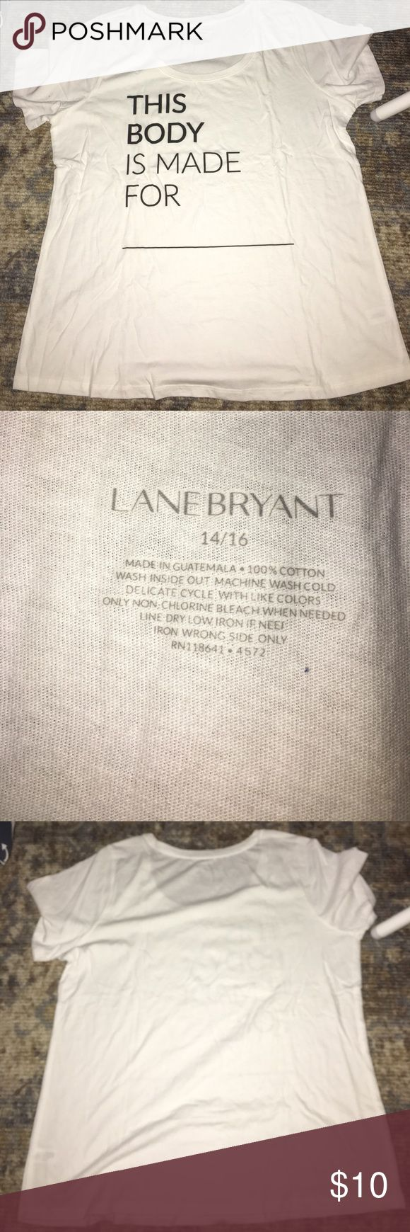 BN Lane Bryant Fashion Week tee 14/16 Brand new. Was given out at plus size fashion week show. Size 14/16. Pet free smoke free home. Super soft 100% cotton tee shirt. As seen on Ashlee Graham and Lane Bryant super models! Lane Bryant Tops Tees - Short Sleeve