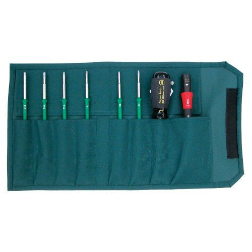 Wiha 28597 TorqueControl Set with TORX Blades in Pouch, 8 Piece Certified to EN ISO 6798, BS EN 26789, ASME B107.14M. Set includes ergonomic multi-component adjustable TorqueVario-S handle, 6 blades and Torque adjustment tool. Packed in a compact durable storage box durable storage box. Torque handle marked with serial number and include calibration certificate. Guaranteed accuracy to 5000 cycles ... #Wiha #BISS