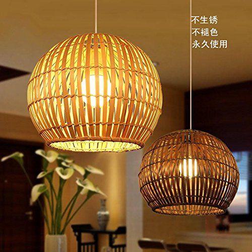 Ancernow E27 cálida moda creativa Iluminación colgante Retro idílico de tejer, bambú (colgando el cable ajustable), 40CM oscuro Lámparas de araña para la sala de estar, dormitorio, bar, cafetería, restaurante, corredor, sala de niños
