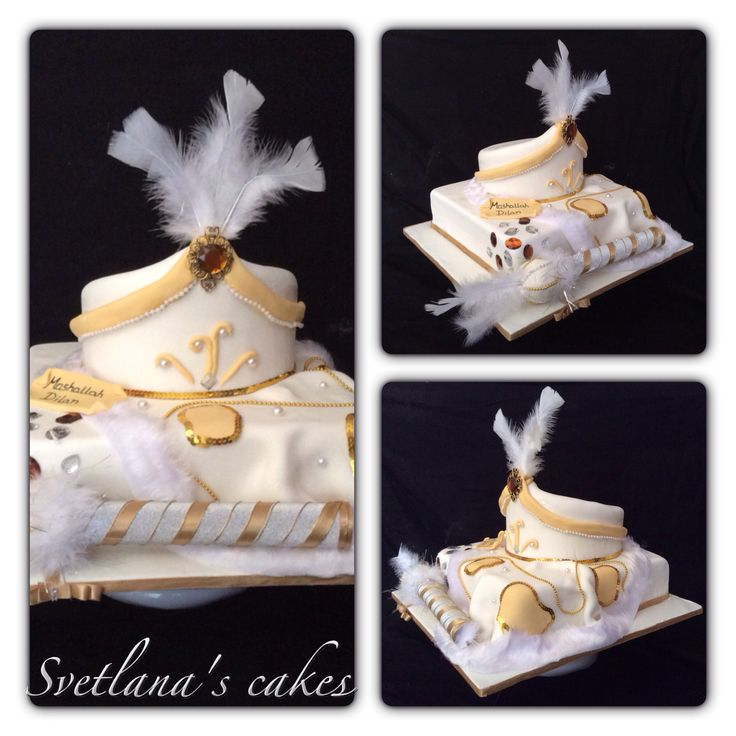 Sunnet white and gold cake with draped cape, hat and stick for Dilan!...Mashallah!!...
