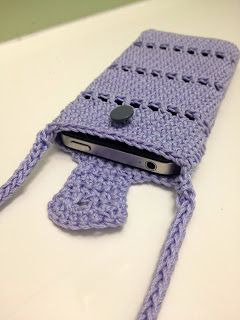 Free crochet pattern: iPhone pouch with neck strap.  Easily modified to fit any phone.