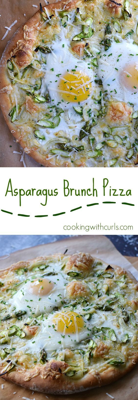 Celebrate Spring with a delicious Asparagus Brunch Pizza at your next family gathering | cookingwithcurls.com