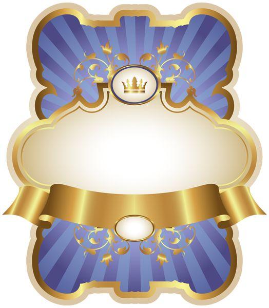 Золото и синий шаблон роскошные этикетки PNG клипарт изображения
