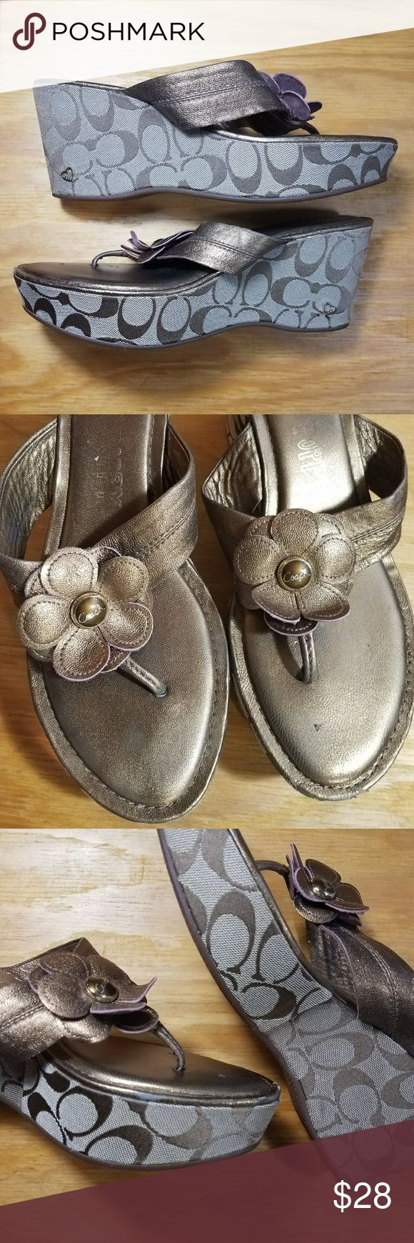 Coach Poppy bronze platform wedge sandals Coach Poppy style A0310 Harley Metallic Kid, bronze platform wedge sandals. Good used condition , have some wear on toes and insoles  **please see all photos for condition**  size 10B Coach Shoes Platforms