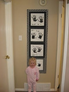Preserving Handprints - in a quilt! Perfect for me. :) I like how she had the kids each write their names and then embroider over it, to save what their handwriting looked like at the time.