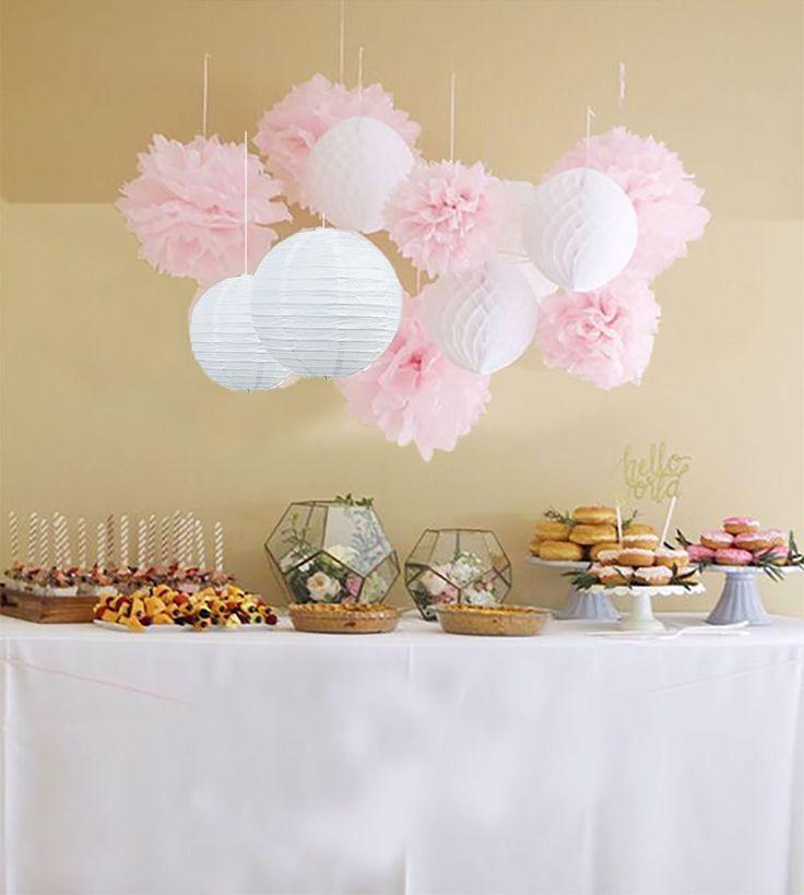 Anokay 12er Set Seidenpapier PomPoms Wabenbälle Laterne Lampion rund Lampenschirm weiß rosa Hochzeit Party Dekoration: Amazon.de: Spielzeug