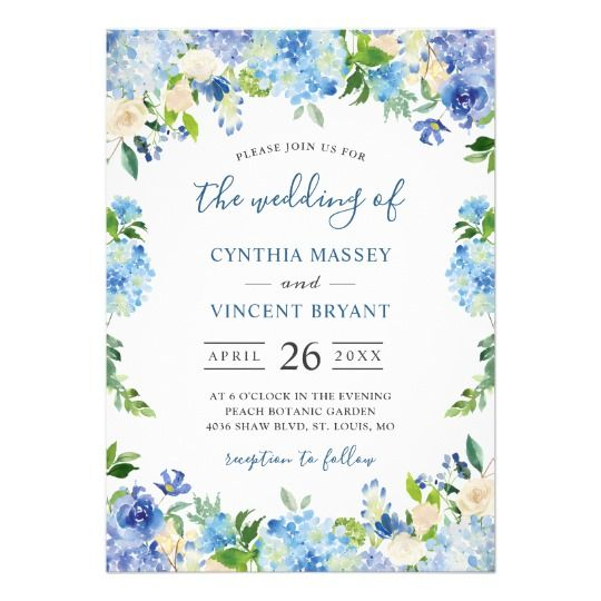 Shades of Blue Hydrangeas Pastel Floral Wedding Invitation | Zazzle.com