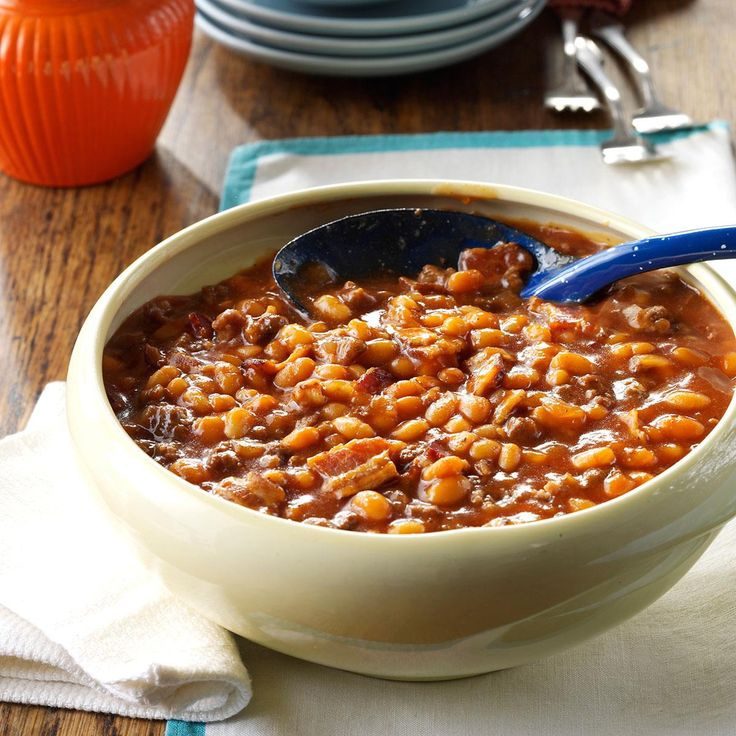 Fourth of July Baked Beans Recipe -We always choose this family recipe for July Fourth or any picnic because it's a meaty twist on everyday baked beans and it has a nice sweetness. —Wendy Hodorowski, Bellaire, Ohio