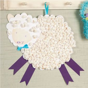 Popcorn Lamb Craft. As long as you can stop the kids (and yourself) from eating it, this is a great idea for ESL/ EFL kids this spring/ Easter.