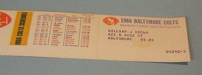 1966 Baltimore Colts National Beer NFL Football Schedule Season Ticket Holder