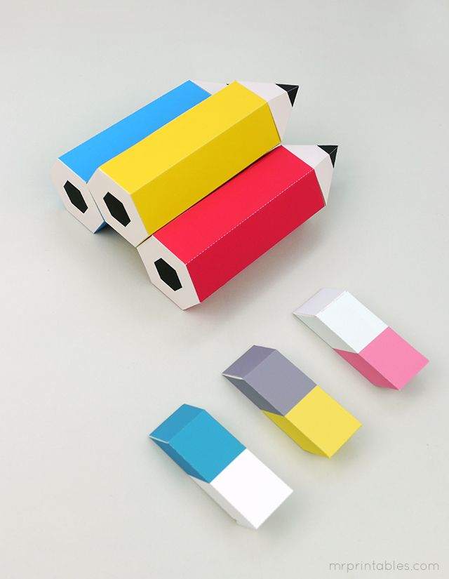 Back to School printable pencil favor boxes with erasers