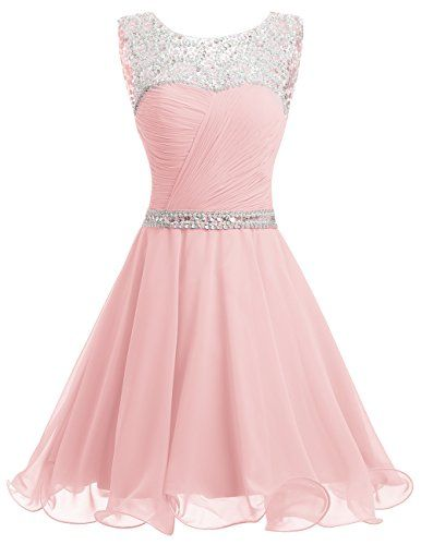 Dresstells® Short Chiffon Open Back Prom Dress With B...…
