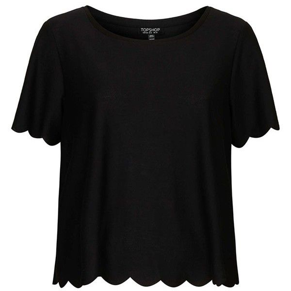 Scallops along the sleeves and hem make a fun, feminine update to this relaxed round-neck tee. Brand: TOPSHOP. Style Name: Topshop Scallop Frill Tee. Style Num…