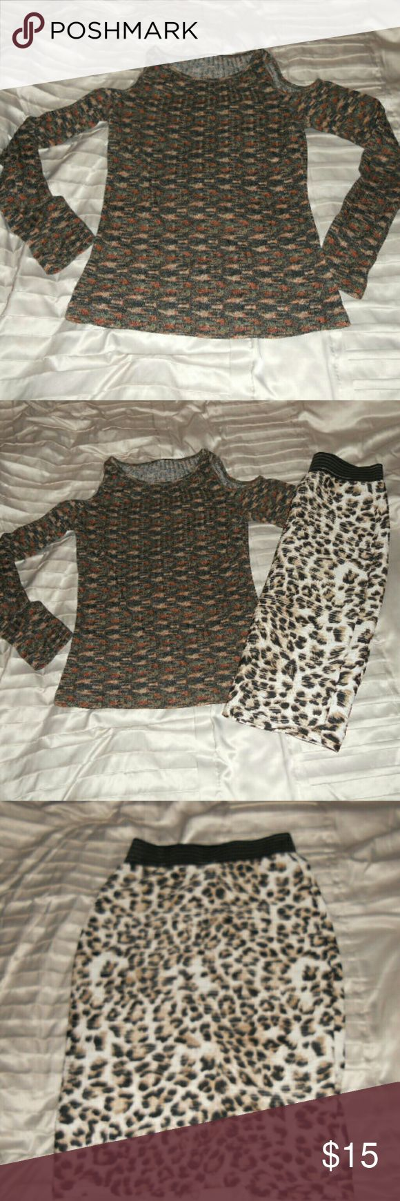 Blouse and leopard skirt Skirt pencil ,leopard ,have a bit on belt rubber came off , have slit in back . Blouse open shoulders.  Buy together $15 or separate 10$ each olive tree Skirts Pencil
