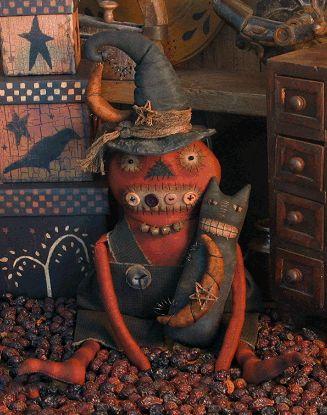 pumpkin dolls | Details about PATTERN Primitive Pumpkin Witch Doll and Black Cat…