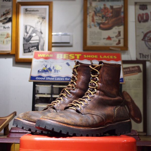 "originaldrsole:  ""Vintage #RedWing #IrishSetter boots came in for a total rebuilding. The owner, Drew, bought these boots for USD $35 from a used clothing store seven years ago while he was about to work in his uncle's ranch. Since then, these boots..."