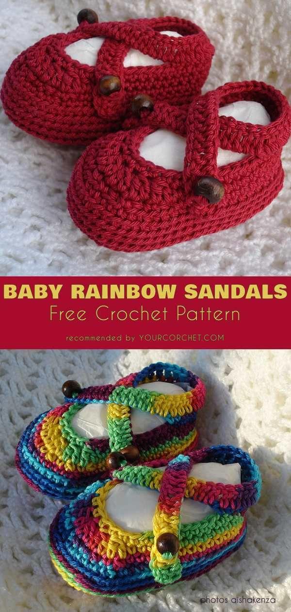 1350d97112d5a5 Baby Rainbow Sandals Booties Free Crochet Pattern