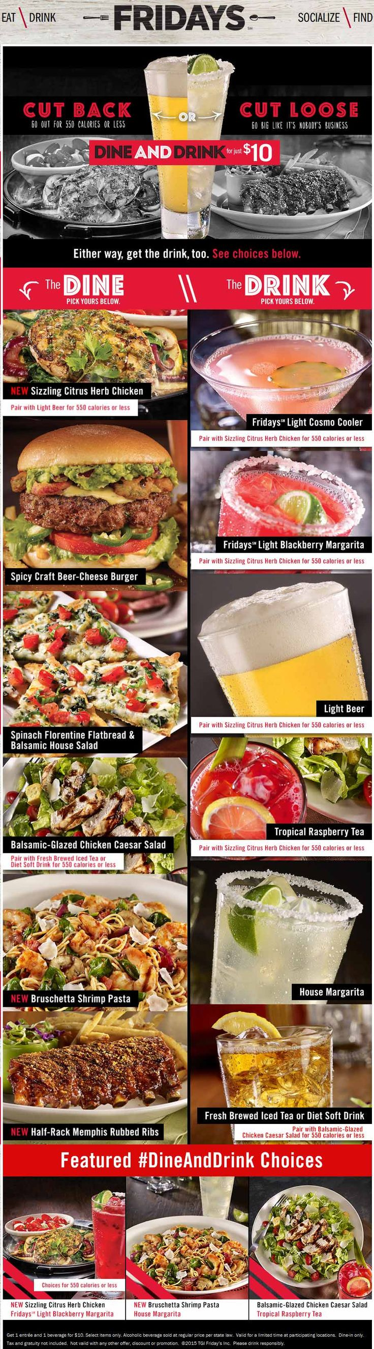 Pinned January 10th: Entree & some booze for $10 at #TGIFridays #coupon via The #Coupons App