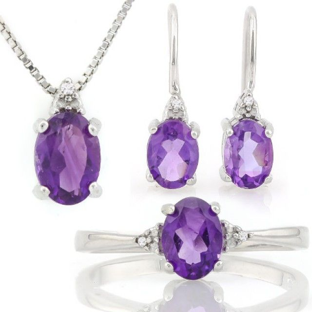 MAGNIFICENT ! 2 4/5 CARAT AMETHYST &  DIAMOND 925 STERLING SILV  CHARMING NATURAL AMETHYST GEMSTONES, PENDAN,RING AND EARRINGS SET FASHION  JEWELLERY, FROM JEWELLERYAUCTIONS.COM