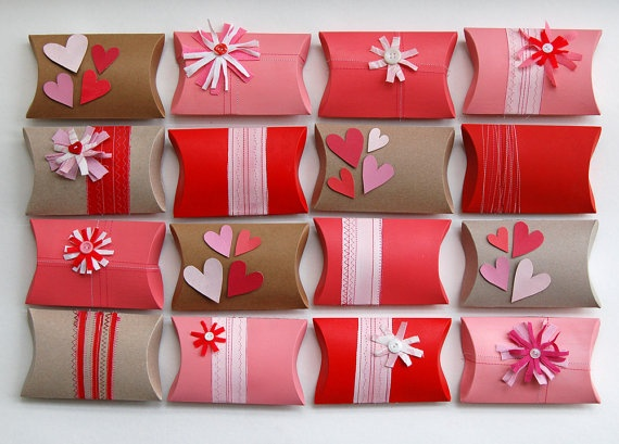 Customized party pack upcycled valentine pillow boxes by greenbugmarketplace, $52.00