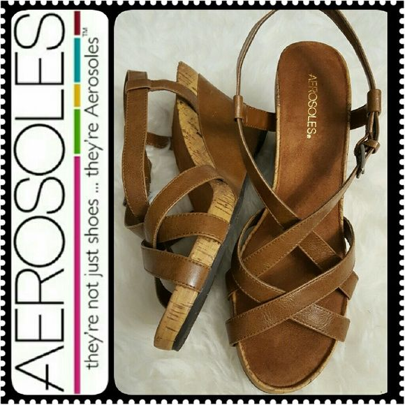 Aerosoles Ladies Wedge Sandals Aerosoles Signature Cork Style Strappy Wedge Sandals, Approx 4 inches heels, Comfy Platform, Almost Brand New AEROSOLES Shoes
