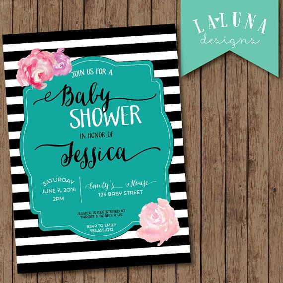 Baby Shower Invitation, Black and White Stripe, Floral Baby Shower, Striped Baby Shower Invitation,  DIY Printable