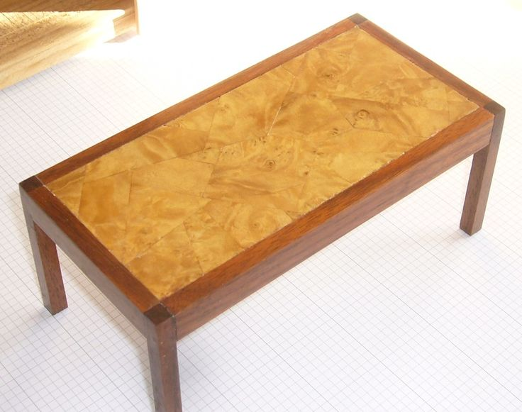 """Dining room table L 6"""" x W 3"""" x H 2 1/2"""" Walnut with ashwood veneer. For sale at www.aegminiatures.com"""