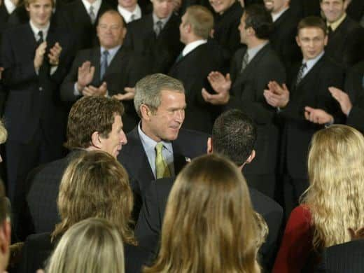 President Goerge W. Bush , bottom center, greets the