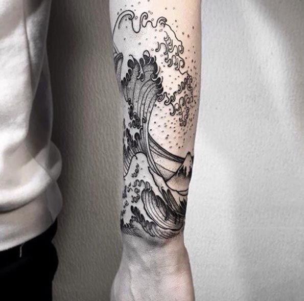 Hokusai Wave Tattoo by OOZY